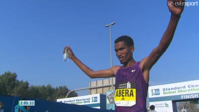 Tesfaye Abera celebrates