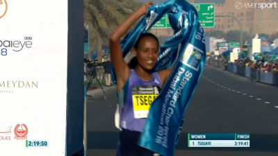 Tirfi Tsegaye had plenty of reason to celebrate after this one
