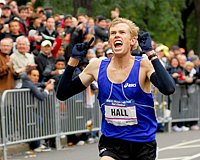 Ryan Hall had plenty of time to celebrate at the 2008 US Olympic Marathon Trials