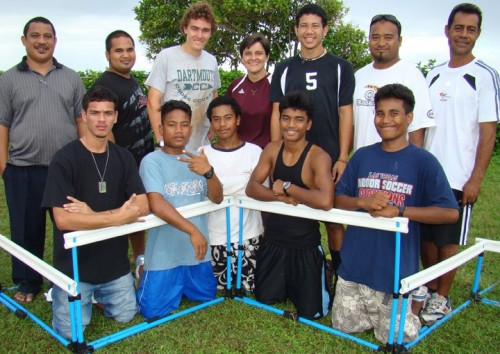 Zablocki (back row, third from left) coached Torelik (front, second from left), Robert (front, second from right) and Katlong (front, far right) to run a historic marathon in the Marshall Islands. Photo courtesy Marshall Islands Journal.