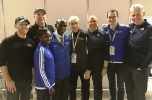 PHOTO: Officials of the Abbott World Marathon Majors pose with Series IX champions Mary Keitany and Eliud Kipchoge after the 2016 Tokyo Marathon.  From left to right: Tim Hadzima, AbbottWMM general manager; Carey Pinkowski, executive director, Bank of America Chicago Marathon; Mary Keitany; Eliud Kipchoge; Peter Ciaccia, President of Events, and race director, TCS New York City Marathon; Nick Bitel, chief executive, Virgin Money London Marathon; Mark Milde, race director, BMW Berlin Marathon; Tom Grilk, executive director, Boston Athletic Association (Photo courtesy of Abbott World Marathon Majors)