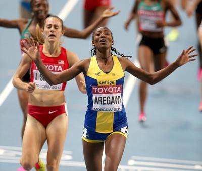 Aregawi took gold ahead of Jenny Simpson in 2013