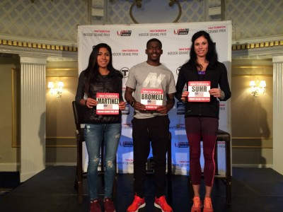 Brenda Martinez, Trayvon Bromell and Jenn Suhr in Boston on Friday