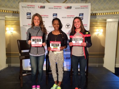 Cory McGee, Meseret Defar and Abbey D'Agostino ahead of Sunday's meet