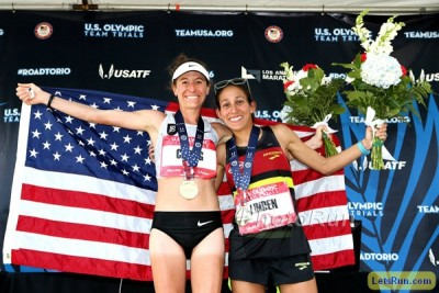 Amy Cragg (l) and Desi Linden at the Olympic Marathon Trials