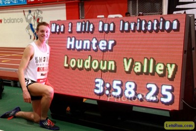 Hunter broke the HS indoor mile record twice this winter
