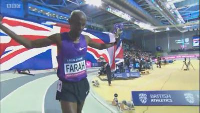 Farah celebrates his victory
