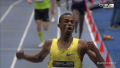 Souleiman celebrated after crossing the line