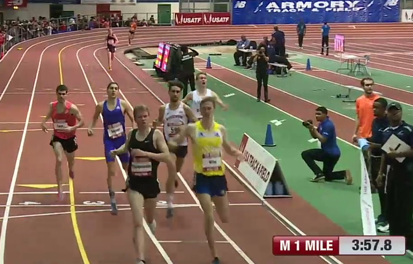 Drew Hunter (rail on right in white) Thinks He Has It At the Finish (And would throw up his hand)