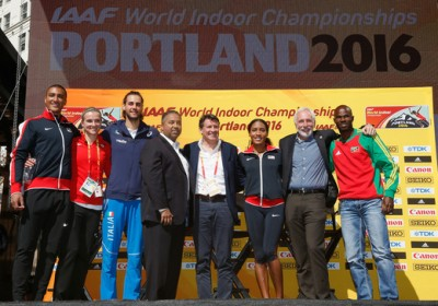 From left to right: Ashton Eaton, Brianne Theisen-Eaton, Gianmarco Tamberi, USATF CEO Max Siegel, IAAF President Sebastian Coe, Ajee Wilson, LOC head Vin Lananna, Kim Collins. © Getty Images for IAAF
