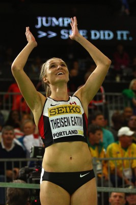 Brianne Celebrates (Photo by Ian Walton/Getty Images for IAAF)""