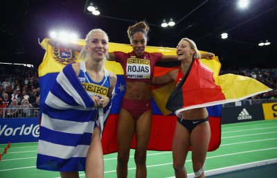 "(L-R) Bronze medallist Paraskevi Papahristou, Yulimar Rojas, Kristin Gierisch (Photo by Ian Walton/Getty Images for IAAF)"""