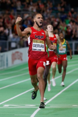 Berian won World Indoors in a Nike singlet (but New Balance spikes) © Getty Images for IAAF