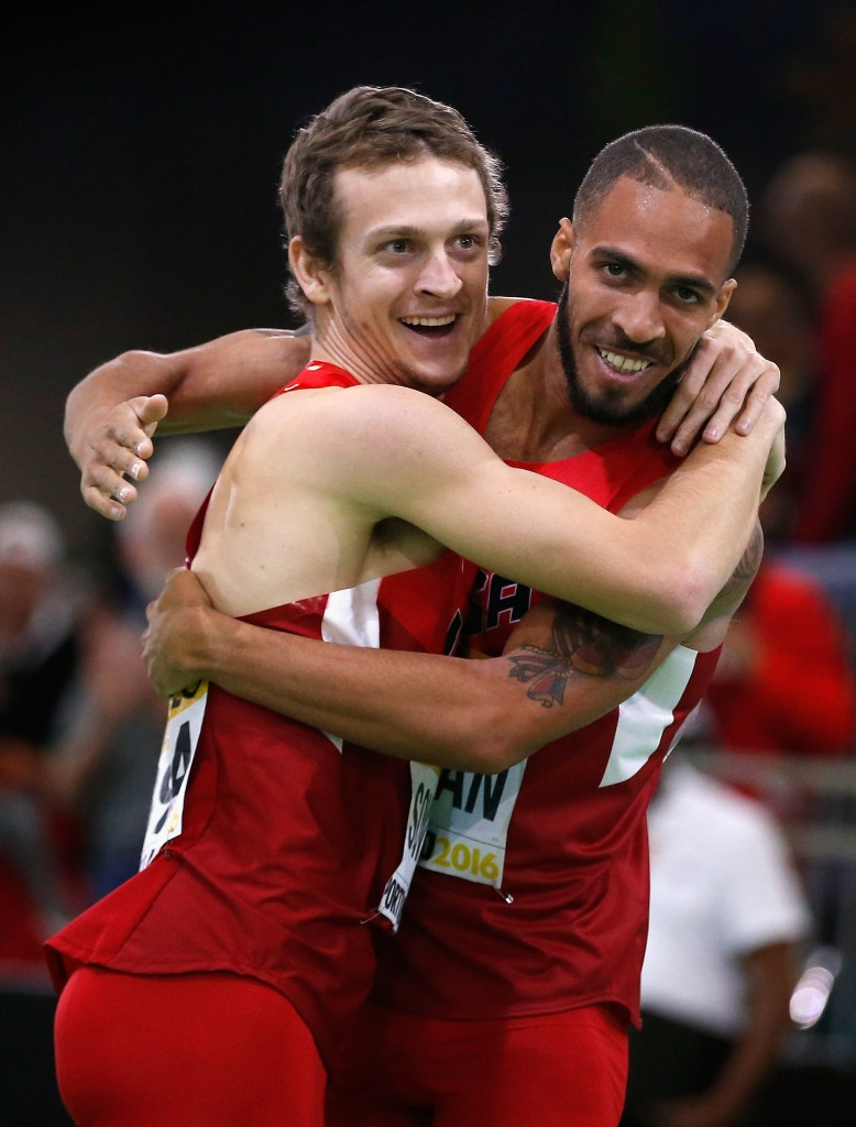 """Erik Sowinski and Boris Berian Celebrate Their Medals (Photo by Christian Petersen/Getty Images for IAAF)"""""""