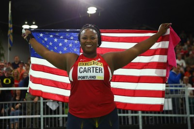"""Michelle Carter New America Record Holder (Photo by Ian Walton/Getty Images for IAAF)"""""""