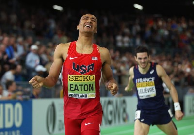 """Ashton Eaton Crosses the Line for Gold (Photo by Ian Walton/Getty Images for IAAF)"""""""