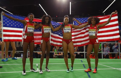 "(L-R) Quanera Hayes, Ashley Spencer, Natasha Hastings and Courtney Okolo (Photo by Ian Walton/Getty Images for IAAF)"""