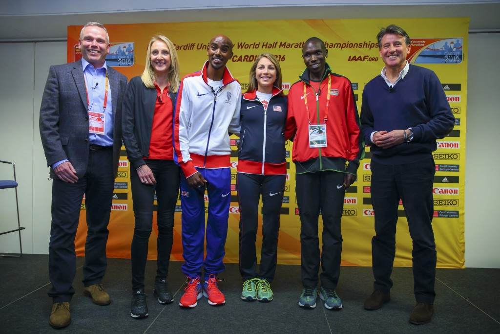 (L-R) CEO Run4Wales Matt Newman, Paula Radcliffe, Mo Farah, Sara Hall of the USA, Geoffrey Kipsang Kamworoand IAAF President Lord Sebastian Coe pose (Photo by Jordan Mansfield/© Getty Images for IAAF)