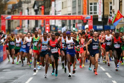 """This is about the only time Geoffrey Kamworor wasn't in the front (Photo by Jordan Mansfield/Getty Images for IAAF)"""""""