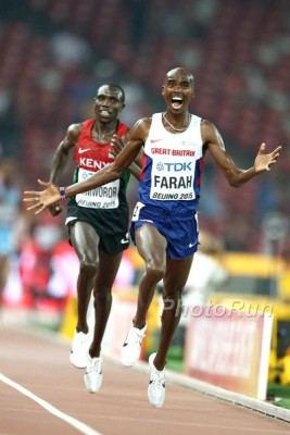 Farah won his sixth straight global title by claiming the 10,000 in Beijing last year