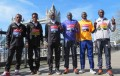PHOTO: The top elite men competing in Sunday's Virgin Money London Marathon (from left to right): Kenenisa Bekele of Ethiopia; Ghirmay Ghebreslassie of Eritrea; and Eliud Kipchoge, Dennis Kimetto, Stanley Biwott and Wilson Kipsang of Kenya (photo by Jane Monti for Race Results Weekly)