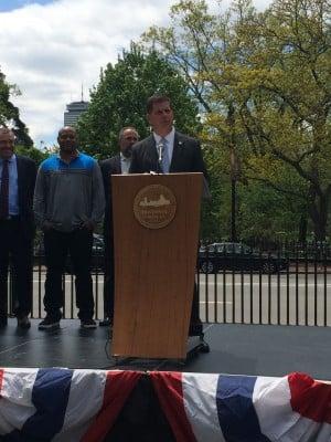Mayor Walsh speaking on Boston Common on Monday