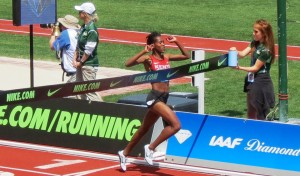 Faith Kipyegon of Kenya breaks the Kenyan 1500m record at the 2016 Prefontaine Classic in Eugene, Ore., running 3:56.41 (photo by David Monti for Race Results Weekly)