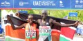 PHOTO: Cynthia Limo and Lucas Rotich after winning the 2016 UAE Healthy Kidney 10-K in New York's Central Park in 31:39 and 28:29, respectively (photo by Jane Monti for Race Results Weekly)