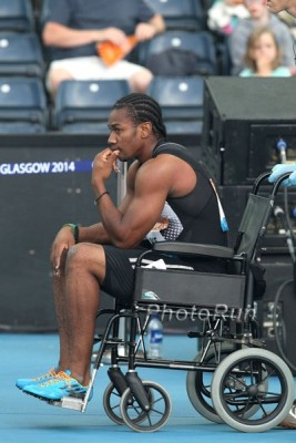 Blake had to be wheeled off the track in Glasgow after blowing out his hamstring in 2014