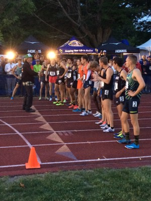 Top heat of the men's mile getting final instructions