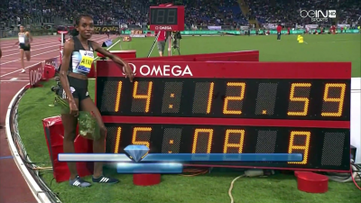 Ayana nearly broke Dibaba's 14:11.15 WR earlier this year