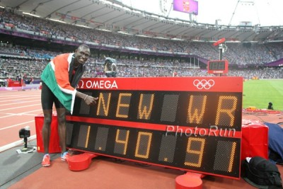 Rudisha after breaking the world record at the 2012 Olympics