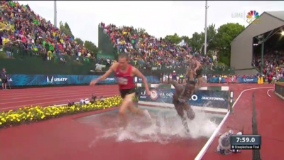 Bayer, Kebenei and Cabral on the last water jump