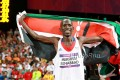 Kemboi swapped jerseys to celebrate his second Olympic title in 2012