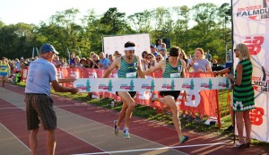 Kyle Merber edges Colby Alexander at the 2016 Aetna Falmouth Mile (photo by Chris Lotsbom for Race Results Weekly)