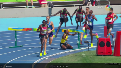 Uganda's Jacob Araptany was involved in a horrific fall