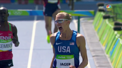 Jager celebrating his Olympic silver medal
