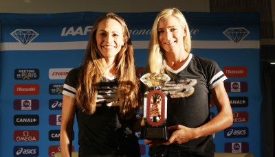 Jenny Simpson and Emma Coburn in Paris in 2016 (photo by Chris Lotsbom for Race Results Weekly)