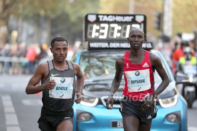 Bekele and Kipsang side by side