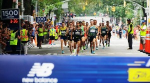 Matthew Centrowitz and Colby Alexander lead the men's pro field at the 2016 New Balance Fifth Avenue Mile (photo by Jane Monti for Race Results Weekly)