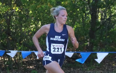 New Hampshire's Elinor Purrier winning the 2016 BC Coast to Coast Battle in Beantown cross country meet (photo by Chris Lotsbom for Race Results Weekly)