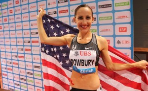 Shannon Rowbury of the United States after winning the 1500m at the 2016 Weltklasse in Zurich in 3:57.78 (photo by Chris Lotsbom for Race Results Weekly)
