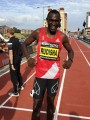 PHOTO: David Rudisha after running a 500m world best of 57.69 at the Great North CityGames in Gateshead, England (photo by David Monti for Race Results Weekly)