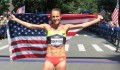 Jenny Simpson after winning the 2015 New Balance Fifth Avenue Mile for the fourth time (photo by Jane Monti for Race Results Weekly)