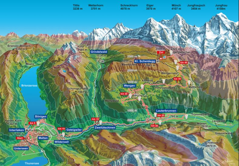 Course runs on road, mountain paths and hiking trails