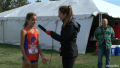 Brenna Peloquin talks to a Flotrack reporter after her win