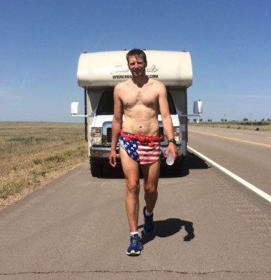 Photos of Young pounding out the miles while riding in the comfort of his RV are unavilable (photo via facebook)