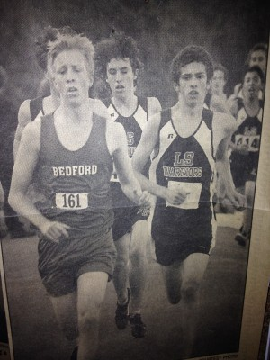 Update: An LRC visitor has sent us this photo of Jon (left) racing his son in high school