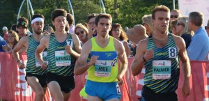 PHOTO: Ford Palmer leading the 2016 Aetna Falmouth Mile where he finished third in 4:00.54 (photo by Chris Lotsbom for Race Results Weekly)