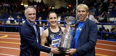 (Left) New York Road Runners President and CEO Michael Capiraso, 2016 NYRR Wanamaker Mile women's champion Shannon Rowbury and New York Road Runners President of Events and Race Director of TCS New York City Marathon Peter Ciaccia. Photo courtesy of Ross Dettman.
